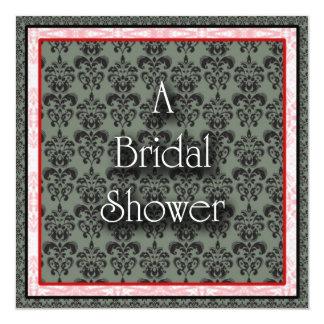 Bridal Shower Invitation Red/Black Damask