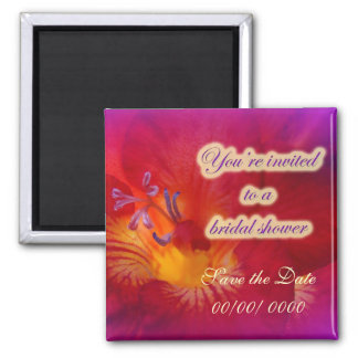 Bridal Shower Invitation Red Freesia Magnet