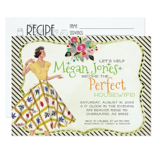 bridal shower invitation retro housewife