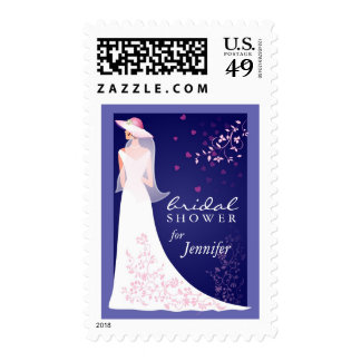 Bridal Shower Invitation - Sapphire Blue and White Postage Stamps