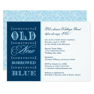 bridal shower invitation something blue