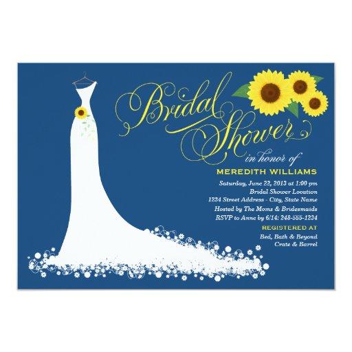 "Bridal Shower Invitation Sunflower Wedding Gown 5"" X 7"" Invitation Card"
