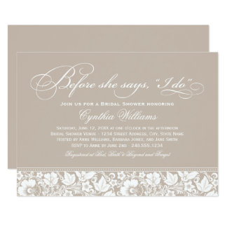 Bridal Shower Invitation   Taupe Floral Lace