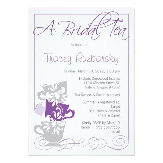 Bridal Shower Invitation - Tea     Purple and Gray