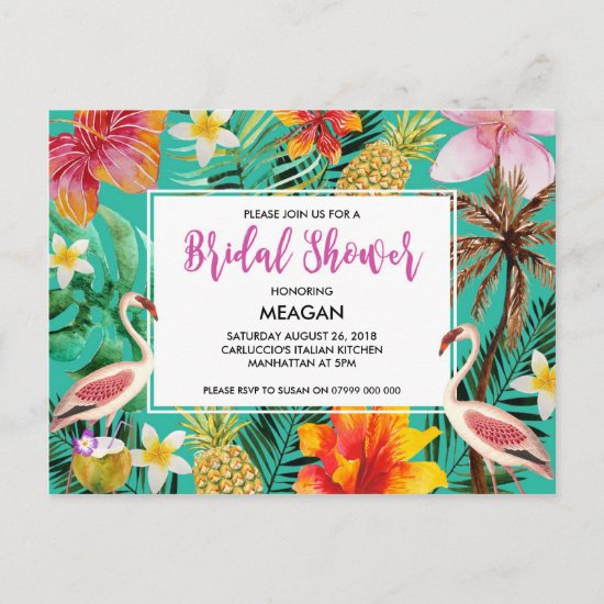 Bridal Shower invitation tropical flamingo