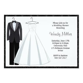 Bridal Shower Invitation - Tux and Wedding Dress