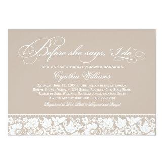 "Bridal Shower Invitation | Vintage Floral Lace 5"" X 7"" Invitation Card"