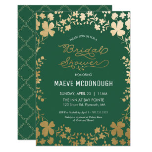 Bridal Shower Invitation, Vintage Green U0026 Gold Invitation
