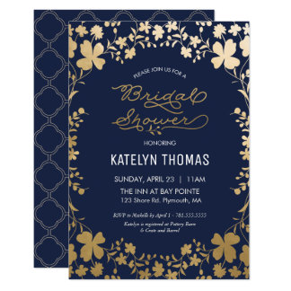 bridal shower invitation vintage navy gold flower card - Vintage Wedding Shower Invitations