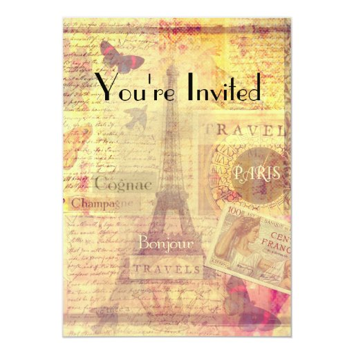Bridal shower invitation vintage paris theme zazzle for Paris themed invitations bridal shower