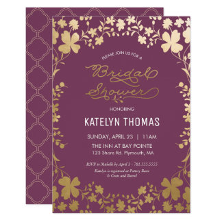 Bridal Shower Invitation, Vintage Purple & Gold Card
