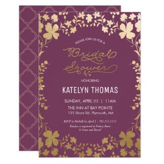 bridal shower invitation vintage purple u0026 gold card