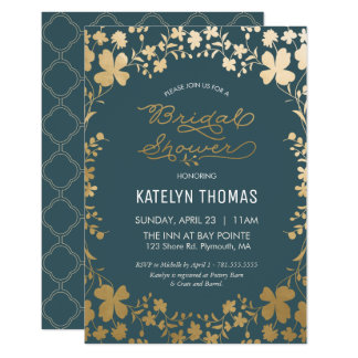 Bridal Shower Invitation, Vintage Teal & Gold Invitation