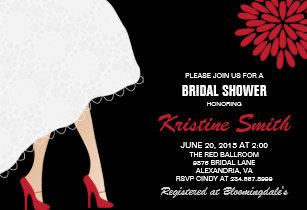 High heel shoes bridal shower invitations zazzle bridal shower invitation w red high heel shoes filmwisefo