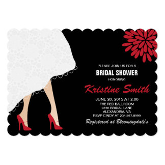 Bridal Shower Invitation w/ Red High Heel Shoes