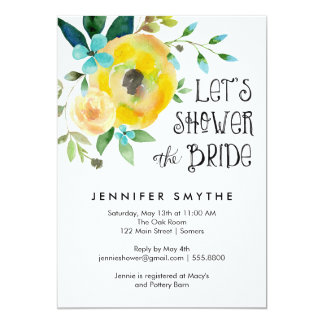 Bridal Shower Invitation-Watercolor Yellow Rose Card