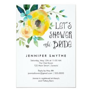 Bridal Shower Invitation-Watercolor Yellow Rose Card
