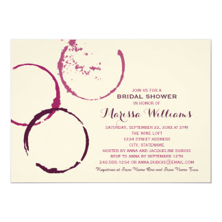 bridal shower invitation wine stain rings