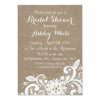 Bridal Shower invitation with burlap and lace