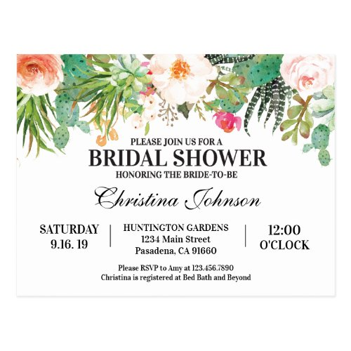 Bridal Shower Invitation with succulents cactus Postcard