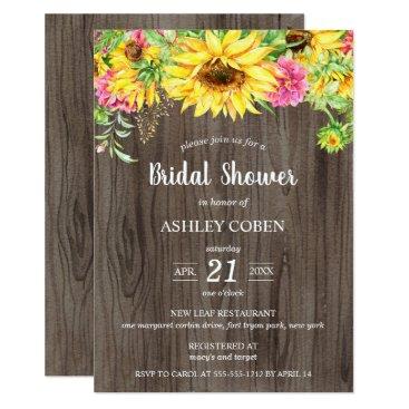 langdesignshop Bridal Shower Invitation with Sunflowers on Wood