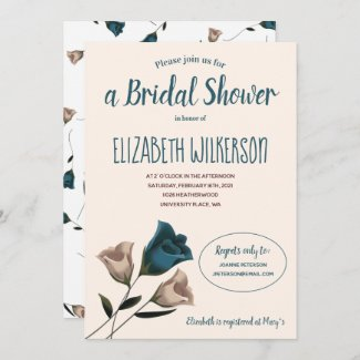 Bridal Shower Invitation with Teal Roses