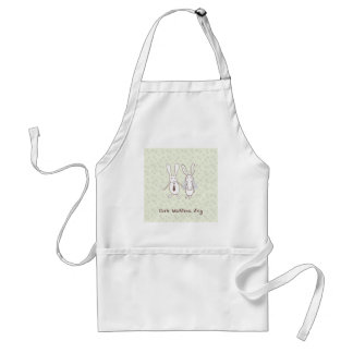 Bridal shower invitation with two cute rabbits in adult apron