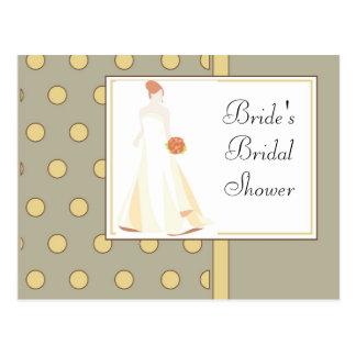 Bridal Shower Invitation-Yellow Polka Dot Postcard