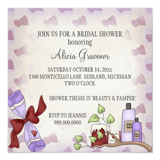 Makeup Bridal Shower Ideas : Bridal Shower Invitations (Beauty and Pamper Theme) Zazzle