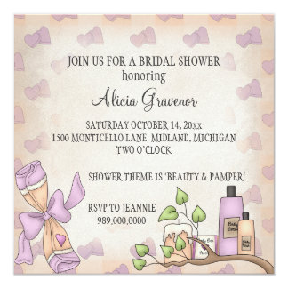 Bridal Shower Invitations (Beauty & Pamper Theme)