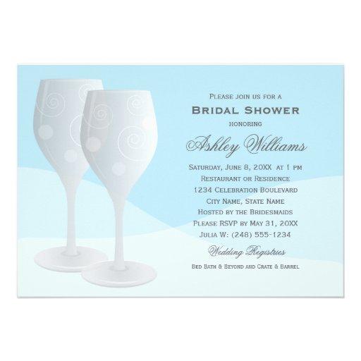 Bridal Shower Invitations   Cheers Wine Glasses