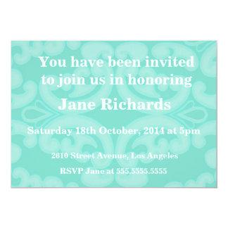 Bridal Shower Invitations Elegant Blue Damask