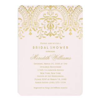 "Bridal Shower Invitations | Gold Vintage Glamour 5"" X 7"" Invitation Card"