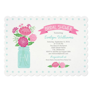 "Bridal Shower Invitations | Mason Jar Bouquet 5"" X 7"" Invitation Card"
