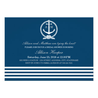 Bridal Shower Invitations Nautical Stripes Theme