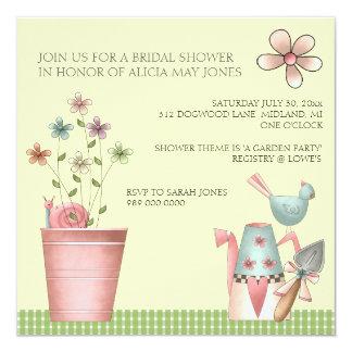 "Bridal Shower Invitations or Garden Party Event 5.25"" Square Invitation Card"
