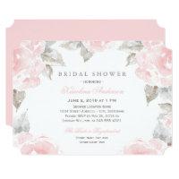 Bridal Shower Invitations | Pink Watercolor Roses