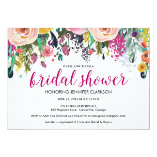 Bridal Shower Invitations with Colorful Flowers