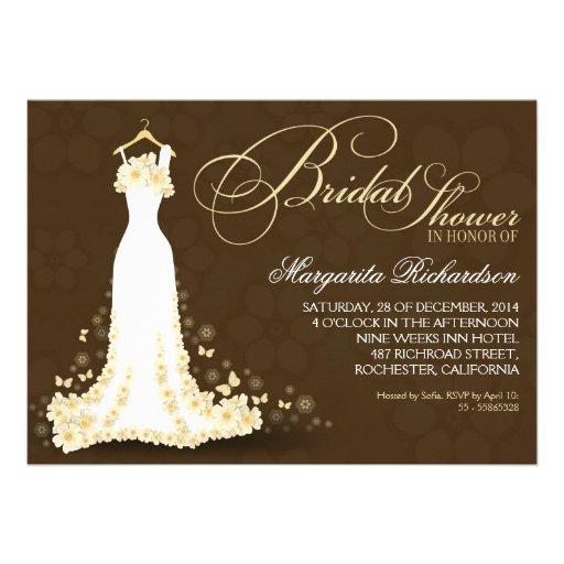 23 beautiful wedding dress bridal shower invitations