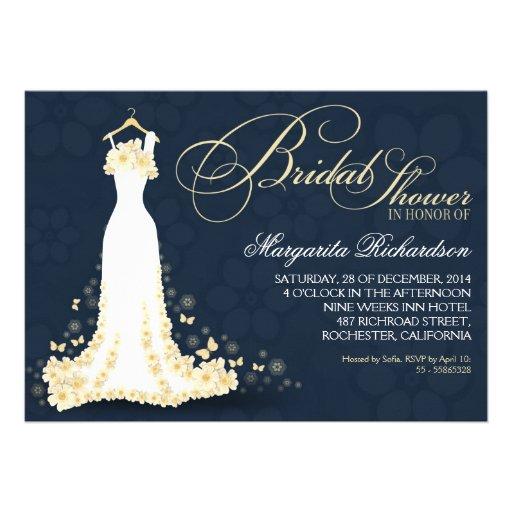 bridal shower invitations with wedding dress