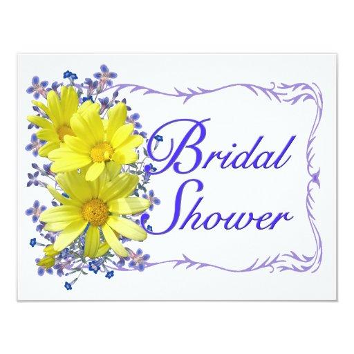 "Bridal Shower Invitations Yellow Daisies Bouquet 4.25"" X 5.5"" Invitation Card"