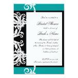 "Bridal Shower Invite Black White Teal Heart Damask 5"" X 7"" Invitation Card"
