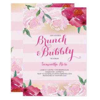 Bridal Shower Invite, Brunch & Bubbly Flowers Card