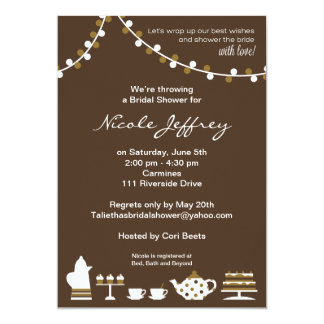 Bridal Shower Invite Chocolate Brown, Tea Lights