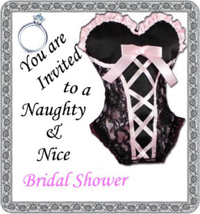 bridal shower invite naughty nice pink black