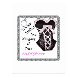bridal Shower invite - Naughty & Nice Pink & black Post Card