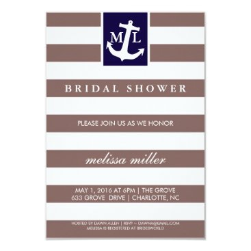 Beach Themed Bridal Shower Invite - Nautical Initials