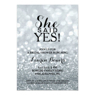 Bridal Shower Invite - She Said Yes Silver