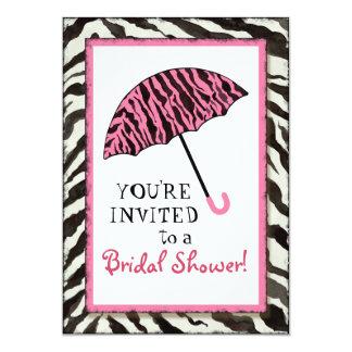 Bridal Shower Invite Zebra, Leopard 'n Umbrella