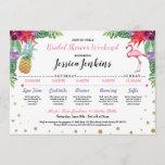 Bridal Shower Itinerary Aloha Flamingo Pineapple Program